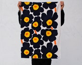 Organic Baby Blanket in Marimekko Blue Poppies - Modern Childrens Bedding Blanket for Eco Friendly Kids - Navy Blue Spring Flowers