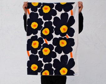 Organic Baby Blanket in Marimekko Blue Poppies - Modern Childrens Bedding Blanket for Eco Friendly Kids - Navy Blue Spring Flowers