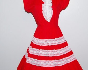 Vintage 1950s Dress Red with Lace Full Circle