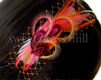 "Feather Headband Fascinator ""Sweet Clementine"" Pink Pheasant Orange Feather and Veiling Headpiece"