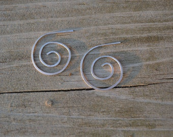 Sterling Sliver Spiral Hand Foraged Earrings