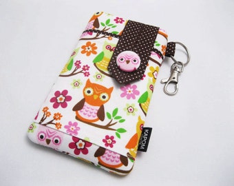 SALE & Ready to Ship - Fabric Pouch for iPhone SE, iPhone 5 and 5s, Button Closure  - Sweet Owls on Branches