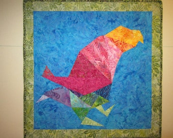 Bird Walking Wall Hanging Art Quilt