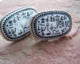 Vintage Mens Accessories , High Fashion Egyptian Revival Huge Hieroglyphics on Glass Cufflinks