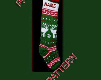 Hand knit Christmas stocking,  pattern only, reindeer and snowflake