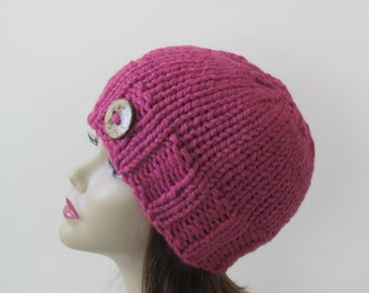 Chunky Knit Hat Winter Hat Chunky Knit Beanie Womens Hat Teens Hat - Raspberry with  Button Accent  - Ready to Ship - Direct Checkout