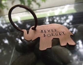 Elephant Keychain, Lucky elephant keychain, Inspirational gift, BFF gift, Graduation gift, Handstamped elephant keychain