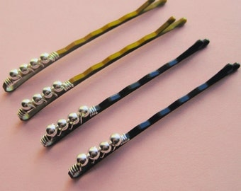 Sterling Silver Beaded Bobby Pins