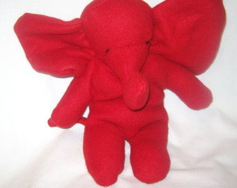 Red Baby Elephant  Stuffed Animal  Washable Soft Plush Toy Travel Toy Soft No Buttons