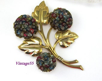Brooch Floral Retro Beaded Sequence
