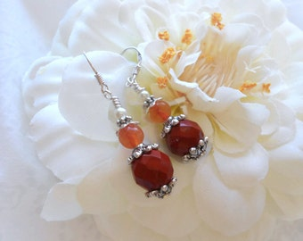 Red Jasper Faceted Beads, Glass Pearls, Silver Spacer Beads, Sterling Silver Earwires,  Dark Orange Quartz, OOAK