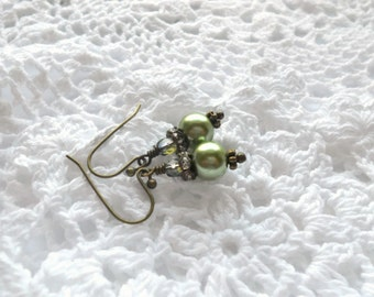 Olive Czech Crystal Beads,  Green Earrings, Wedding Earrings, Bridesmaid Earrings, AB Clear Crystals,