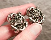 Silver Toned Floral Nouveau Style Clip On Earrings