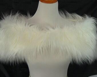 Faux Fur Shrug, Ivory Mongolian Shag Faux Fur Shawl, Fur Stole, Wedding Shoulder Wrap