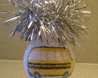 School Bus keepsake light bulb ornament