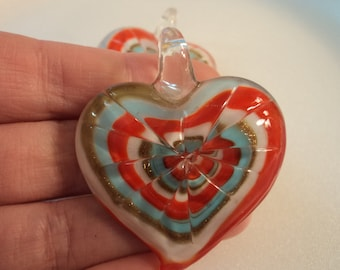 SALE - Glass Heart Pendant - Red/White/Blue - #PND929