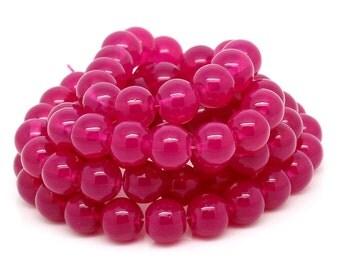 Fuchsia Glass Beads - 6mm - #GBS123