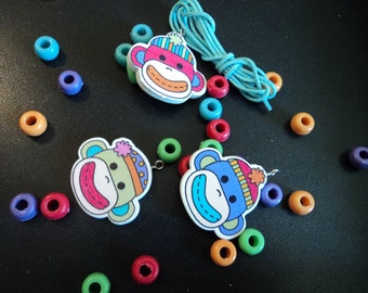 CLEARANCE - Kid's Sock Monkey Bracelet Kit  - 2 Kits