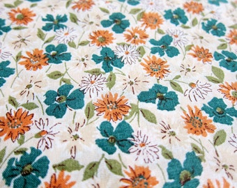 Japanese Fabric Cotton Voile - Wildflowers in Green and Orange - Fat Quarter - Kokka Fabric From Japan LIMITED YARDAGE