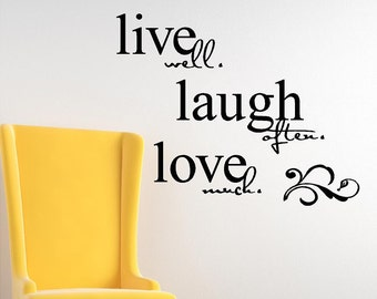 live well laugh often love much vinyl lettering quote wall saying decal sticker art