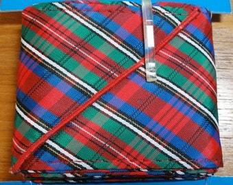 "Vintage Ribbon Belt Kit-Christmas Tartan Plaid Red, Green & Blue-40"" Length 2 3/4"" Wide- NOS"