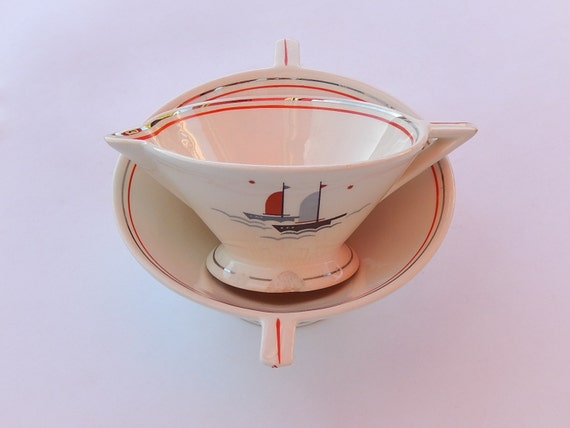 Atomic Art Deco Cream & Sugar Set, Salem Streamline Shape, Nautical Sailing Ships Pattern_Grade C