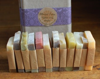 Organic soap sampler gift set - large. 12 guest soaps or gift soaps in recycled gift box. Natural and botanical.