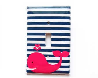 Whale Switchplate Cover - Nautical Navy Stripes - Navy Hot Pink - Nursery Decor - Custom Colors