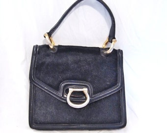 RETRO Made in Italy calf hair and leather bag  Handbag  Black with  lots of Room  Nice and Practical Practical  On SaLe Now