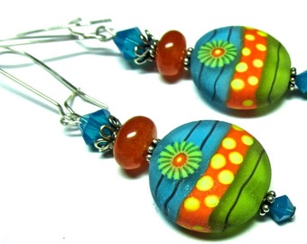 Colorful Earrings Funky Earrings Lampwork Earrings Glass Earrings Artisan Earrings Beaded Earrings Lime Green Earrings Glass Bead Earrings