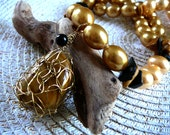 Awaken The Tiger In You - Necklace / Wire Crocheted Owyhee Yellow Jasper , Fake Pearls, Onyx and Jasper Chips