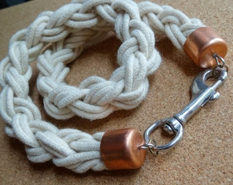 Nautical necklace thick cord industrial style white Braid