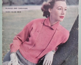 Vogue-Knit No.103 Blouses and Cardigans women's knitting patterns vintage retro 1940s 1950s cardigans and blouse-style sweaters - UK edition
