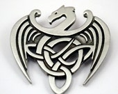 Celtic Dragon Brooch Pin - Celtic Jewelry in Fine Pewter by Treasure Cast Pewter
