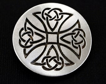 Celtic Knot Cross Brooch by Treasure Cast Pewter
