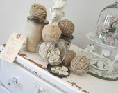 Vintage Jars of Twine Buttons Zippers Sewing Notions - Shabby Cottage Farmhouse