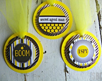 007 Secret Agent Spy Favor Tags...Set of 12 Favor Tags