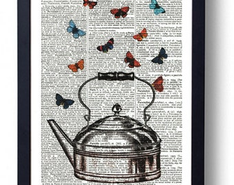 Original Art Print on A Vintage Dictionary Book Page / Kettle / Teapot with Butterflys / Tea