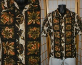 50s / 60s  floral and tlki print Hawaiian shirt mens size large