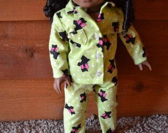 18 inch Doll Clothes - Scottie Dog Pajamas - Green Black Dog Polka Dot PJ - GREEN BLACK - fits American Girl