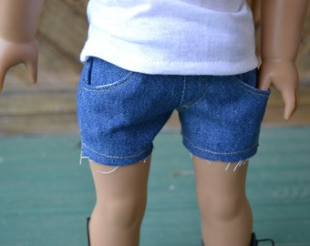 18 inch Doll Clothes - Medium Wash Blue Jean Cut-off Shorts  - MADE TO ORDER - wardrobe staple - fits American Girl