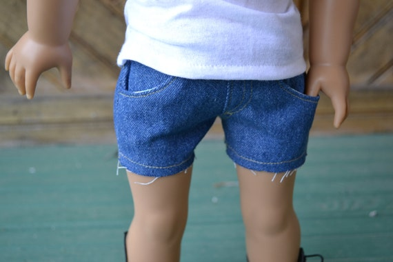 American Girl Doll Clothes - Medium Wash Blue Jean Cut-off Shorts  - MADE TO ORDER - wardrobe staple