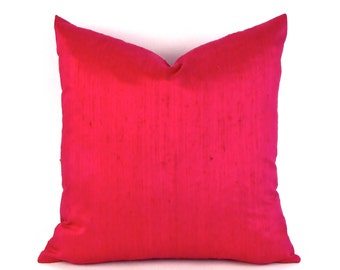 Raspberry Silk Pillow Cover 18 inch, 20 inch, 22 inch  - Wine Silk - Cranberry Silk Cover - Valentines
