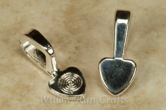 50 Medium Shiny Silver Plated Heart Bails, Necklace Bails  (07-06-300)