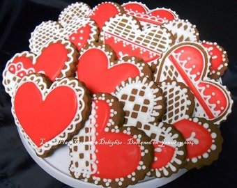 Chocolate Heart Valentines - 12 Cookies