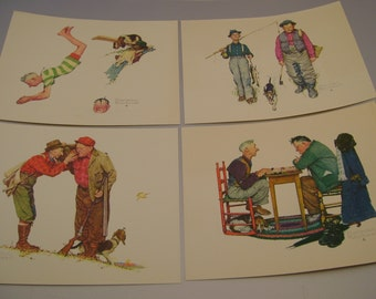 Set of Four Vintage 1970s Norman Rockwell Embossed Prints 8 x 10 Inches, Ready to Frame