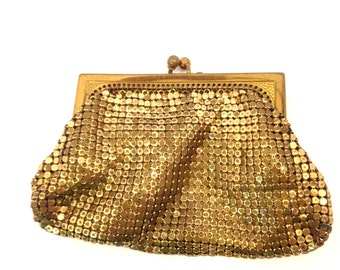 Vintage purse art Deco purse gold purse Evening purse Mesh purse Mini purse Clutch Wallet Coin Purse gold bag mesh handbag chainmail