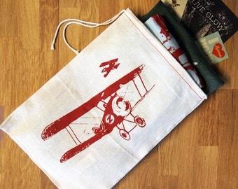 "GIFT BAG - 8 x11"" Vintage PLANES - Cotton Eco Reusable Drawstring Cloth Handprinted Bag"