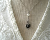 Typewriter Key Necklace & Pearl. Letter L Necklace. Monogram Necklace. Vintage Typewriter Key Jewelry. Victorian Steampunk Wedding.
