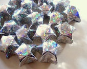 20 Metallic and Holographic Silver (or Gold) Origami Lucky Stars - Wishing Stars - Table Decor, Confetti, Gift Enclosure, Jar Filler, Etc